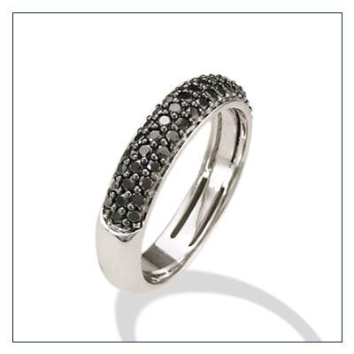 anello mezza fedina con diamanti neri