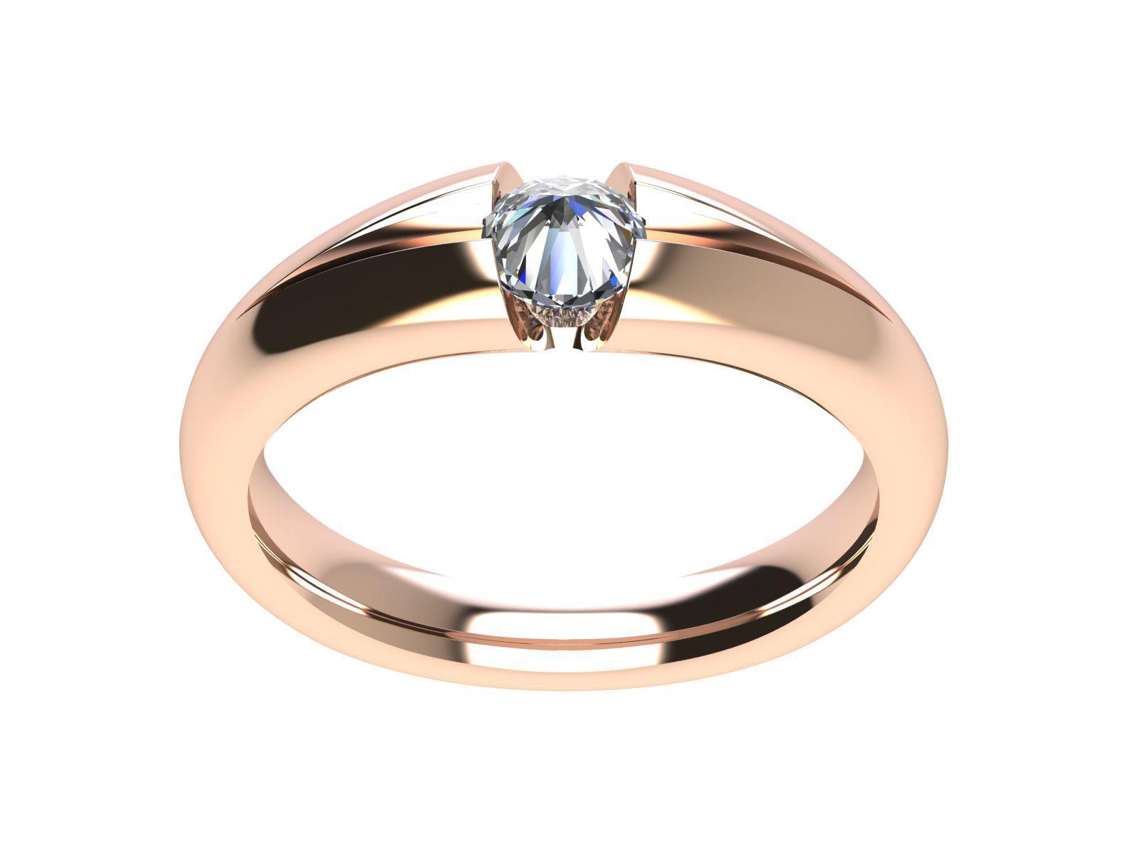 Anello Cuntrari in oro rosa con il diamante con la punta verso l'alto