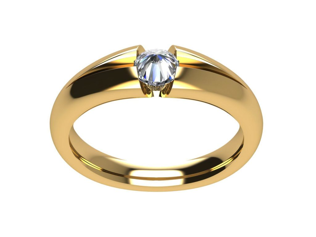 cuntrari anello con diamante al contrario