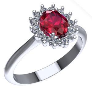 Anello in oro bianco con rubino e diamante naturale taglio brillante