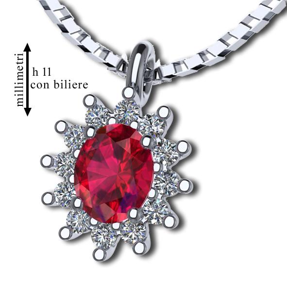 Pendente in Oro bianco con Rubino e Diamante