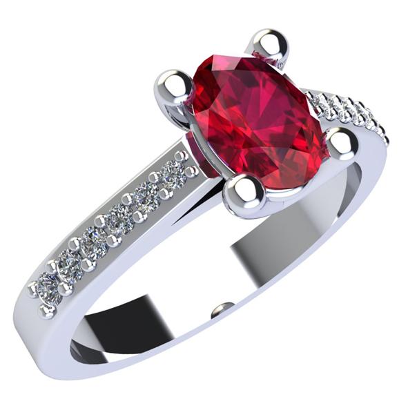 Anello in Oro bianco con Rubino e Diamanti laterali