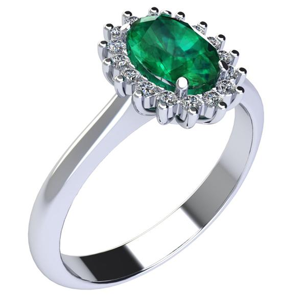 Anello in Oro bianco con Smeraldo e Diamante naturale taglio brillante