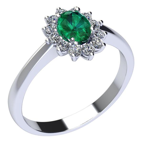 Anello in Oro bianco con Smeraldo e Diamante