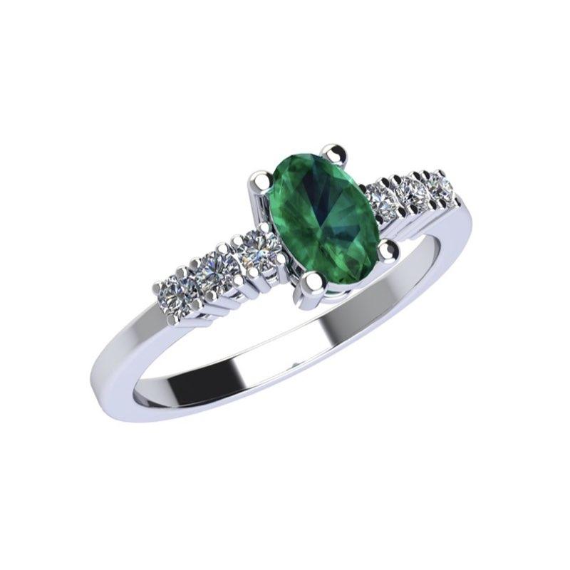 anello in oro bianco con smeraldo naturale e diamanti