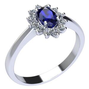 anello in oro bianco e diamanti con zaffiro naturale