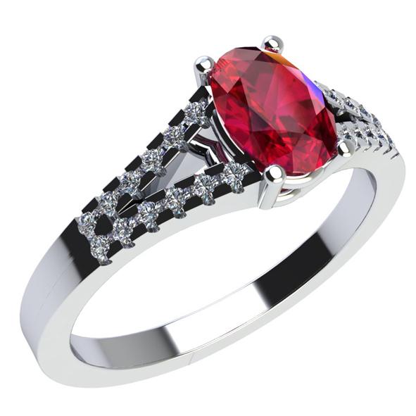 Anello in Oro bianco con Rubino e Diamante