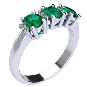 anello trilogy con smeraldi e diamanti