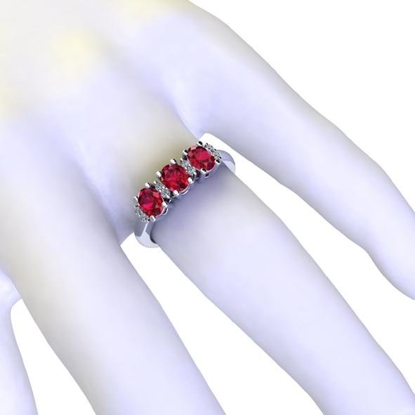 Anello trilogy con rubini e diamanti