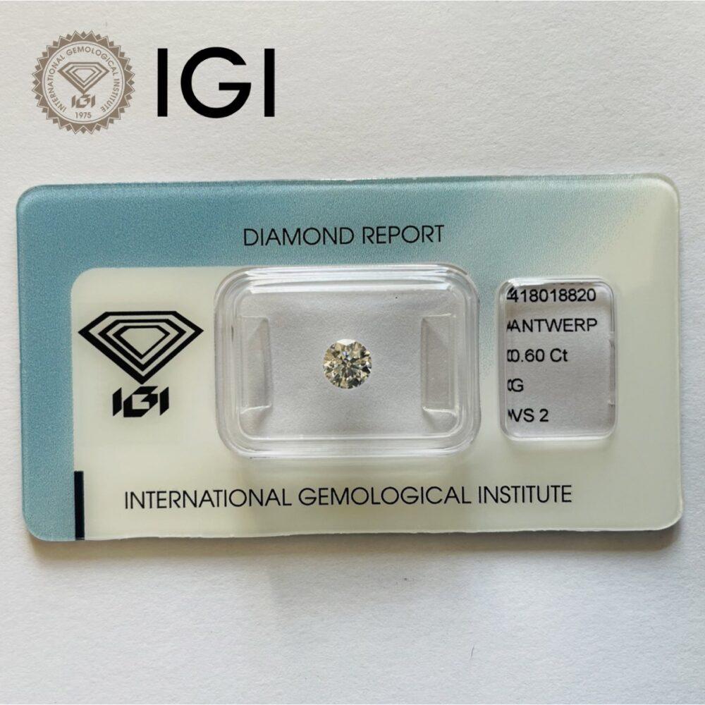 Diamante da 0.60 ct colore G purezza Vs certificato IGI