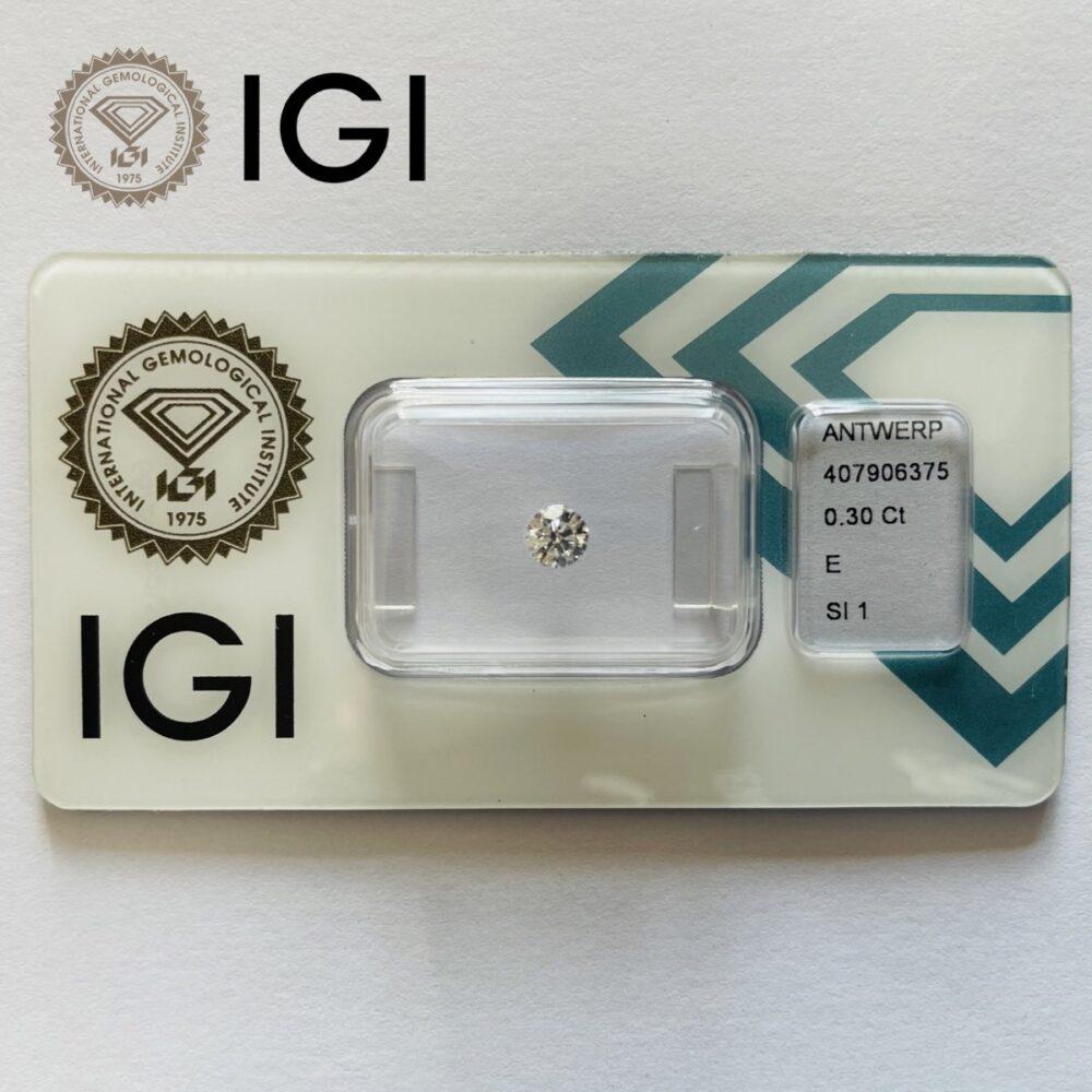 Diamante da 0.30 E Si1 certificato Igi