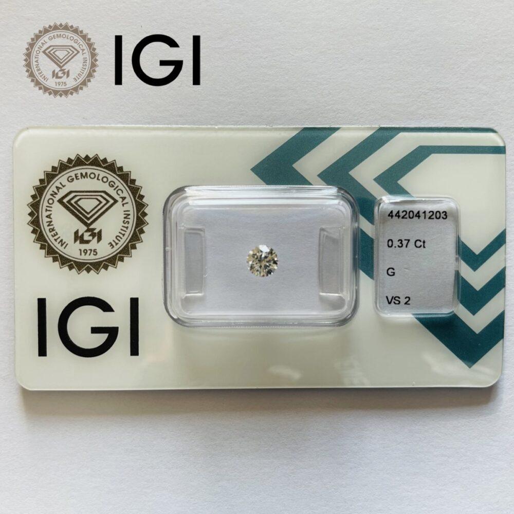 Diamante da 0.37 carati g vs2 certificato igi