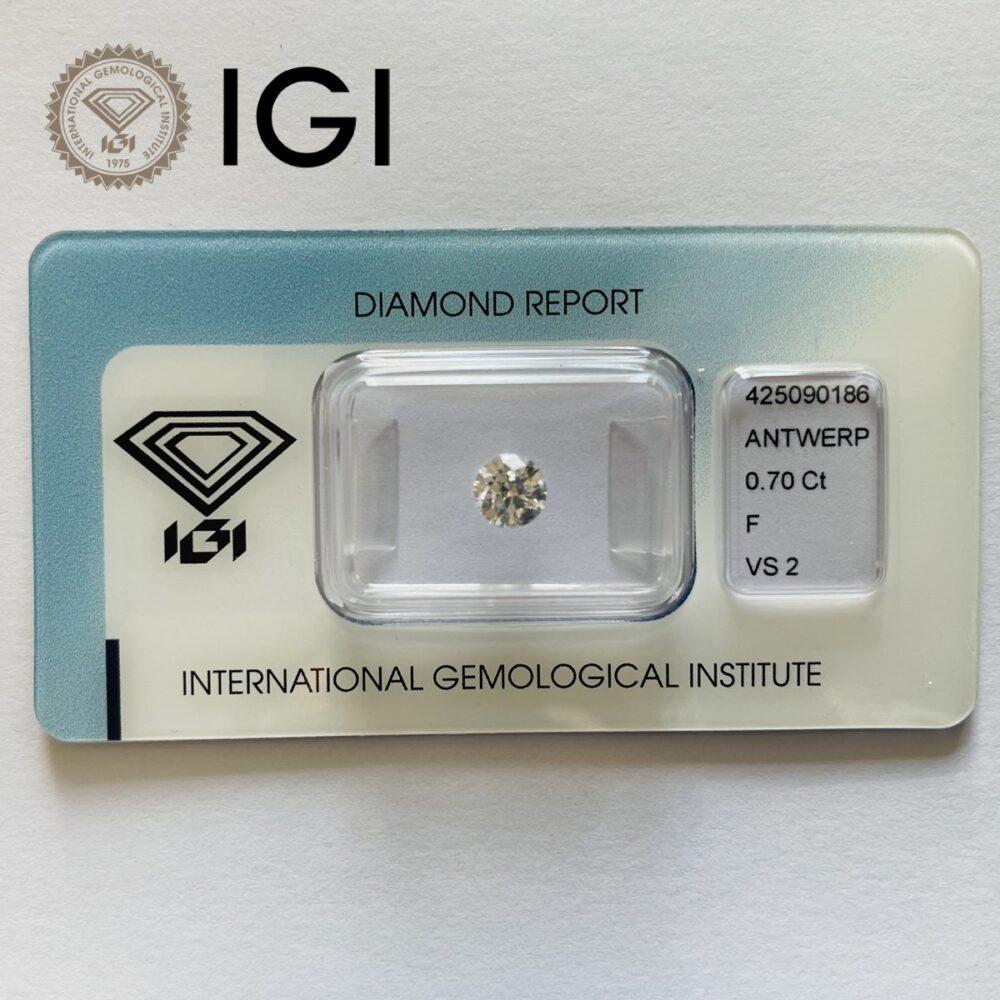 Diamante da 0.70 ct F Vs2 Igi