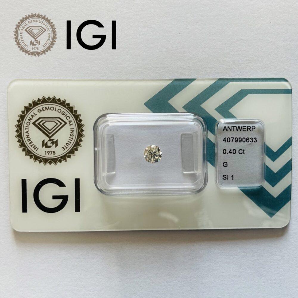 Diamante da 0.40ct G Si1 certificato Igi