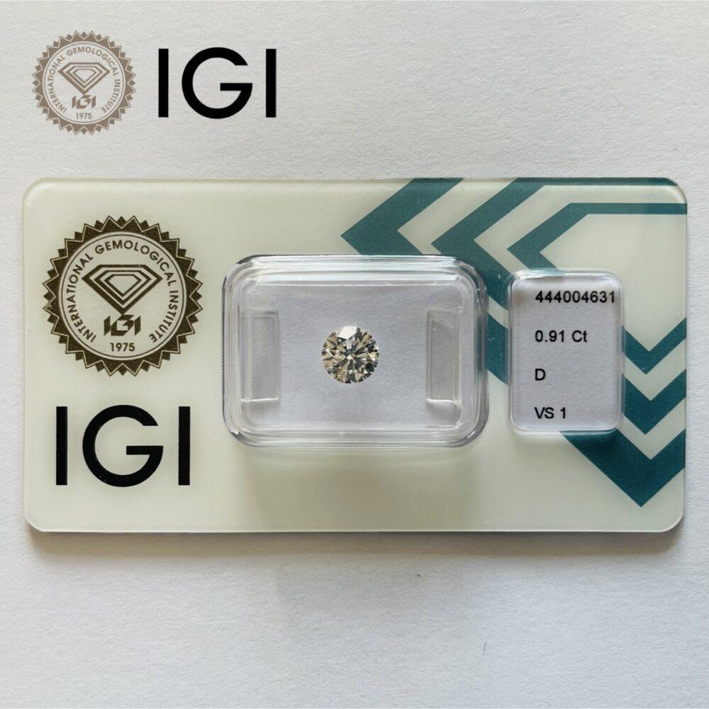Diamante da 0.91 ct D Vs1 certificato Igi