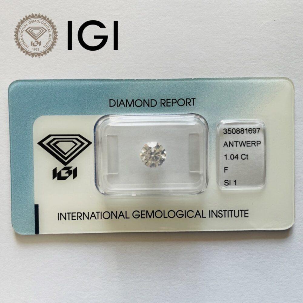 Diamante da 1.04 ct F Si1 certificato IGI