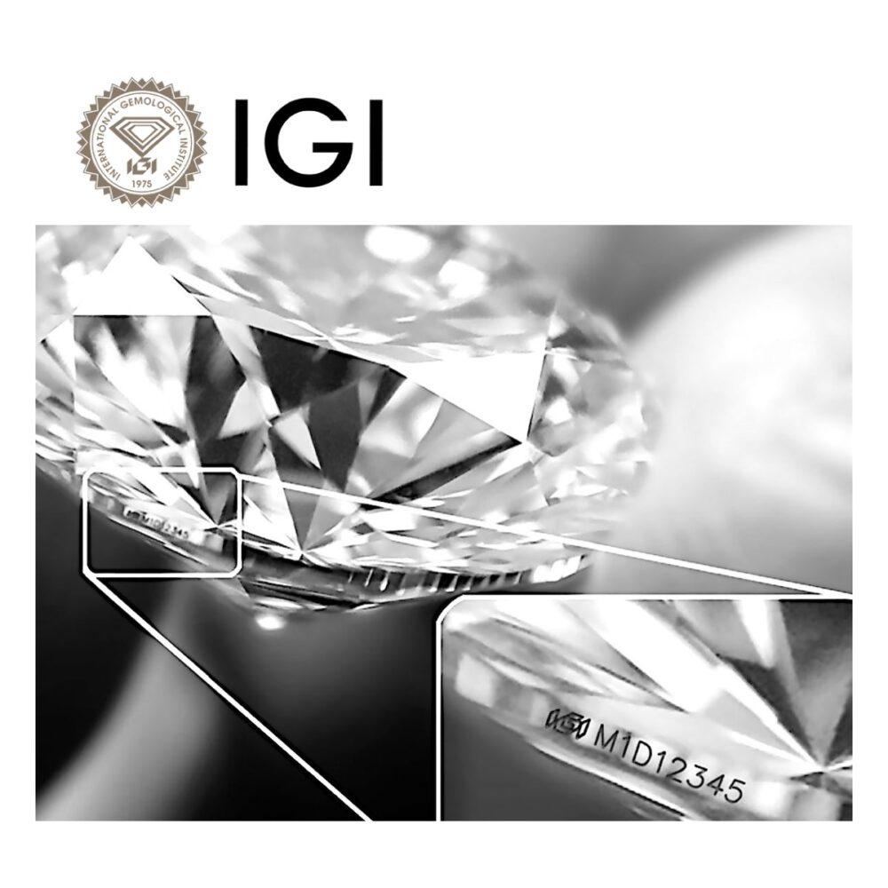Iscrizione laser del certificato IGI nel diamante