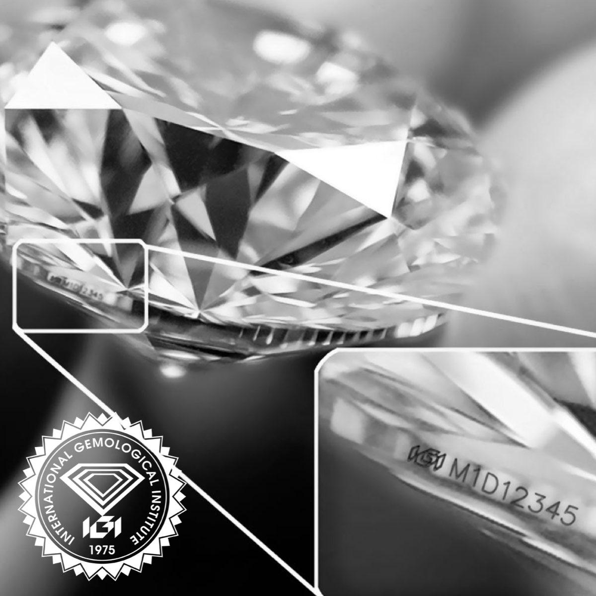 Incisione al laser del numero di certificato nel diamante