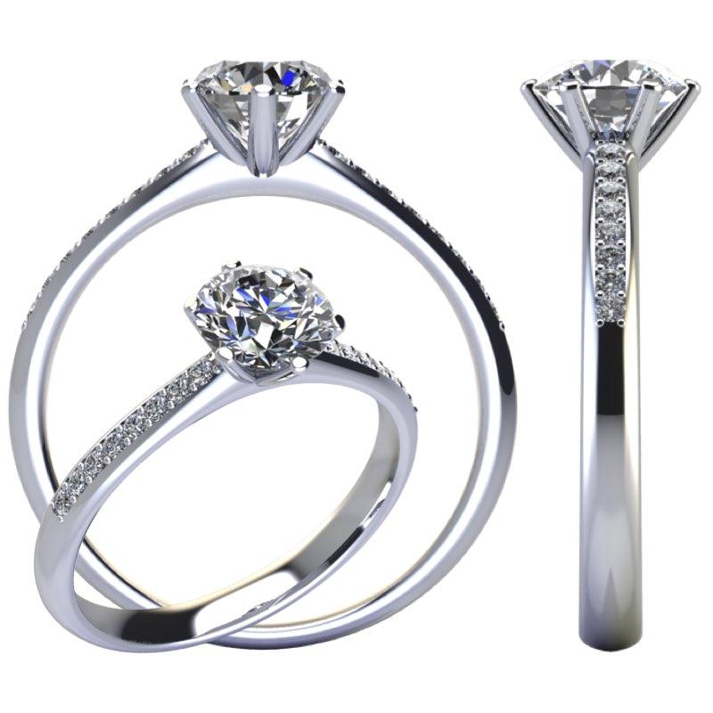 Anello fidanzamento 6 griffe con diamanti