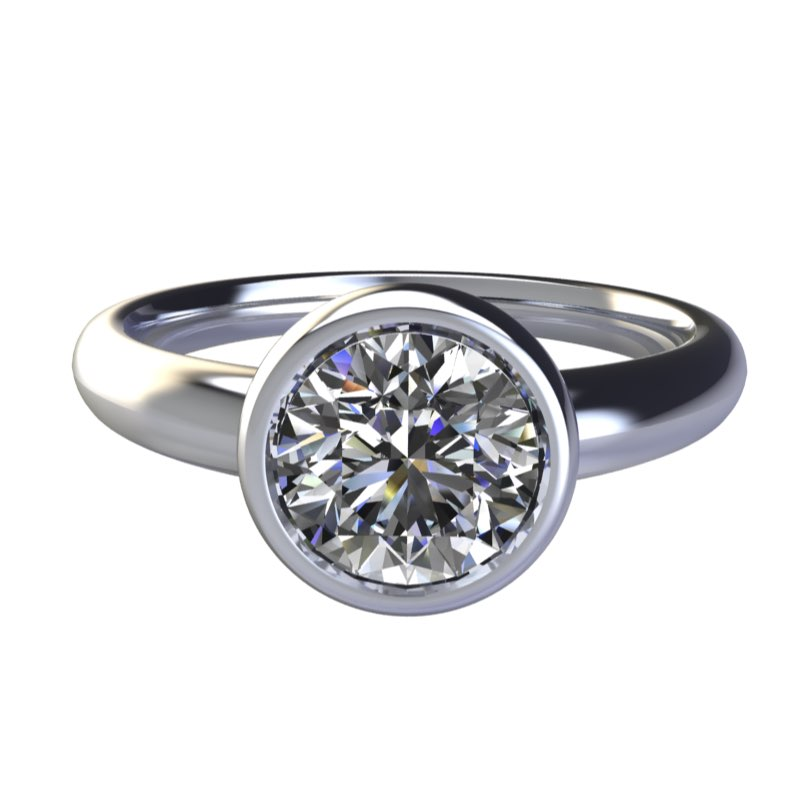 anello solitario cerchio con diamante sospeso