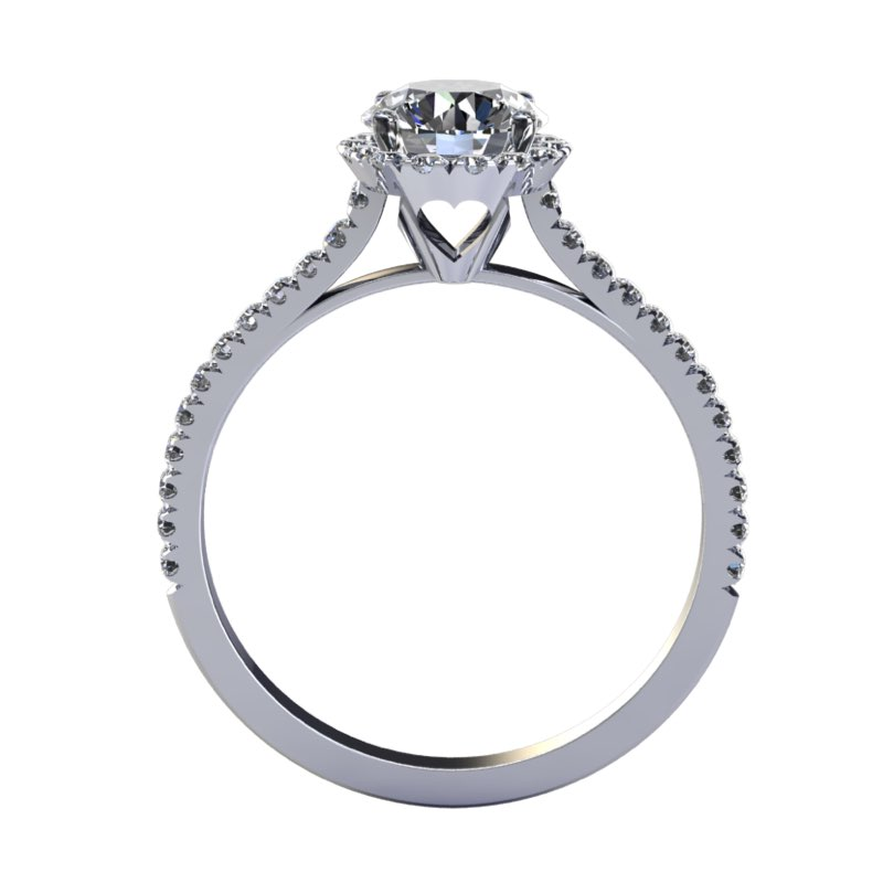Anello Solitario con contorno di diamanti