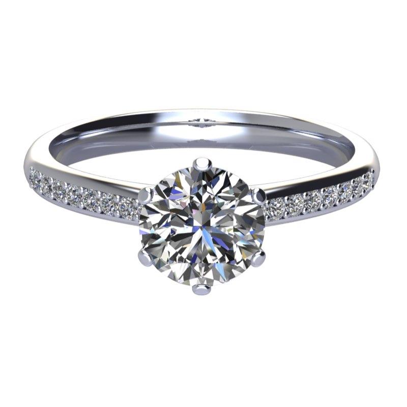montatura anello 6 griffe con diamanti