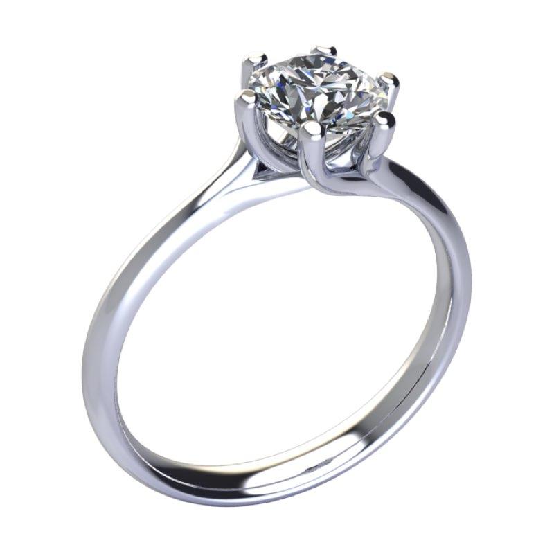 Montatura anello solitario 6 griffe intrecciato