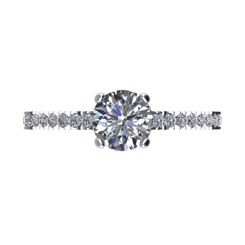 Montatura anello solitario con diamanti sul gambo Torinogioielli