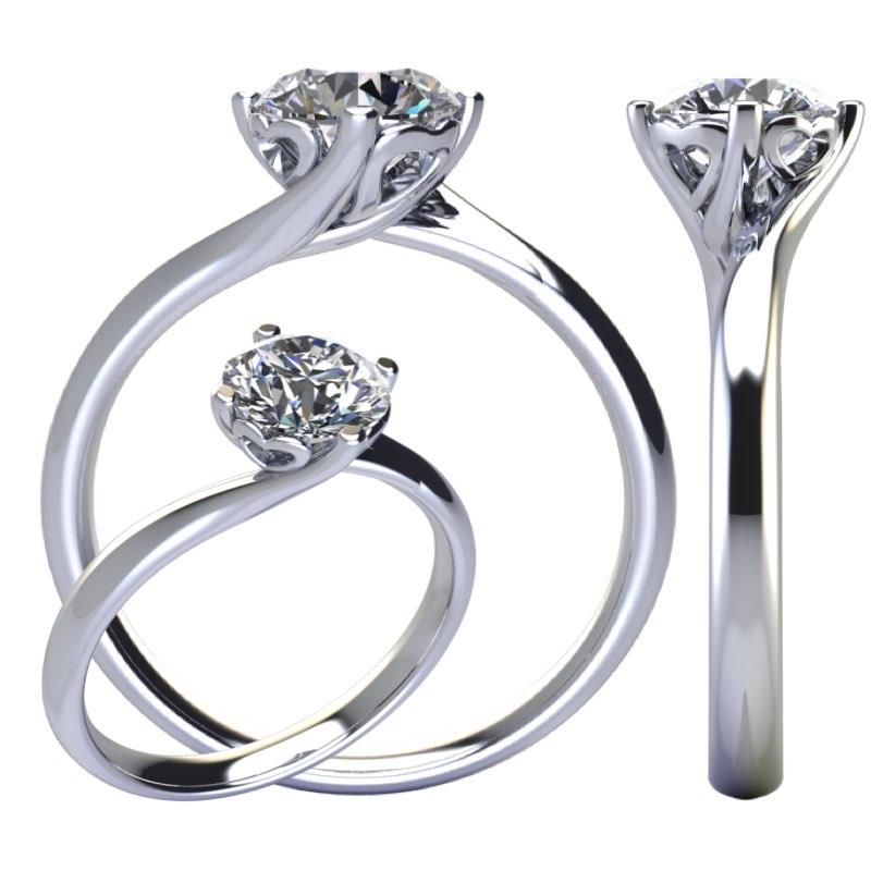 Montatura anello solitario valentino con 4 cuori Torinogioielli