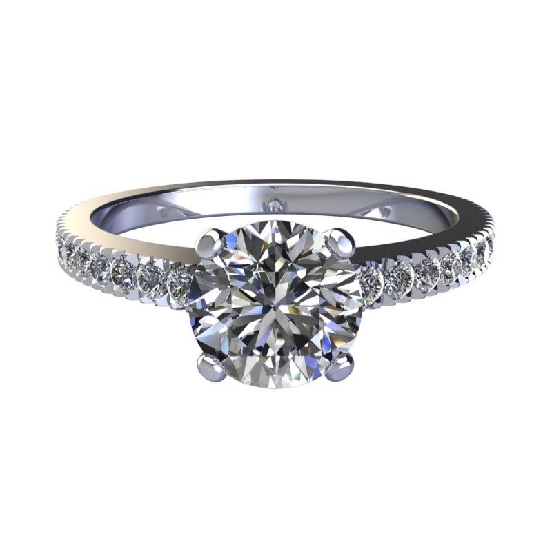 Montatura in oro solitario con diamanti sul gambo Torinogioielli