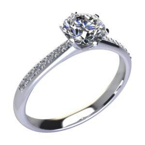 anello solitario 6 griffe con diamanti