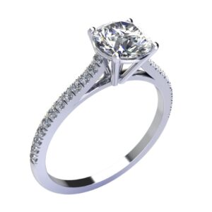 Montatura anello solitario a V con diamanti sul gambo