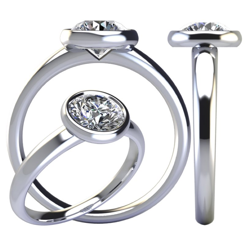montatura solitario cerchio con diamante sospeso Torinogioielli