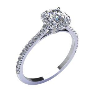 montatura solitario con contorno di diamanti