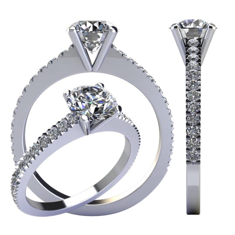 Montatura solitario minimale con diamanti sul gambo Torinogioielli