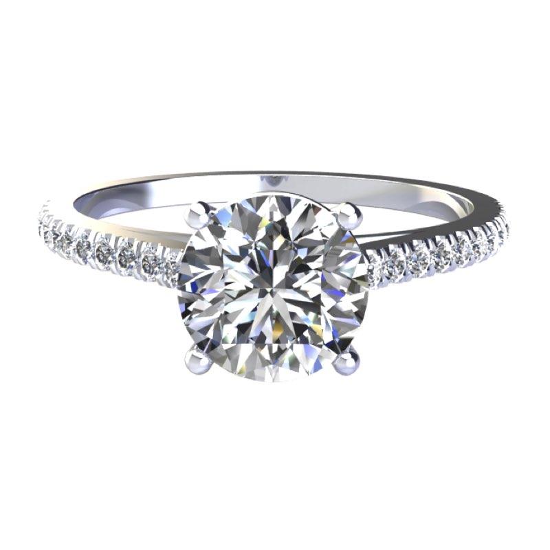 Solitario a V con diamanti sul gambo