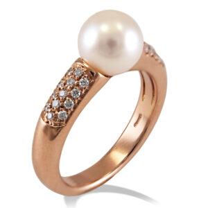 anello in oro rosa con perla giapponese Akoya